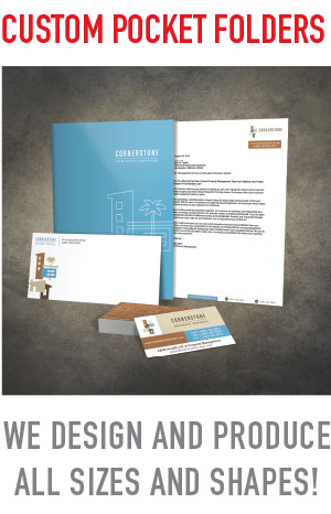 Custom pocket folder design and printing in mesa, gilbert, chandler AZ., serving the entire Phoenix vallry