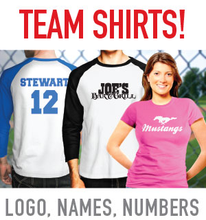 Mesa, Gilbert, Tempe, AZ team jereseys and shirts with names and numbers printed on them Tower MEdia Group serving the entire East Valley